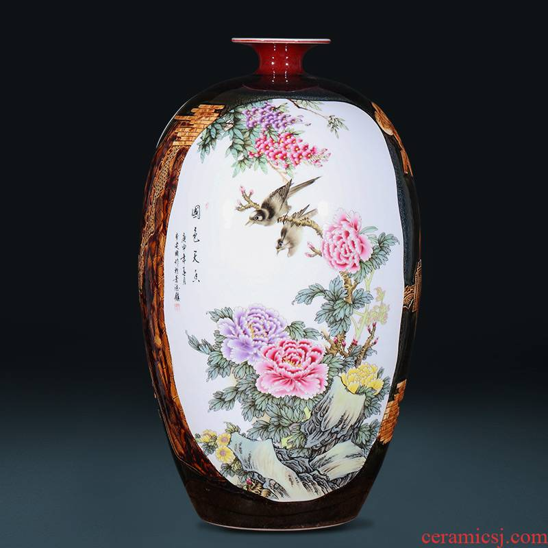 Jingdezhen ceramics craft creative up peony vases, new Chinese style home furnishing articles large living room