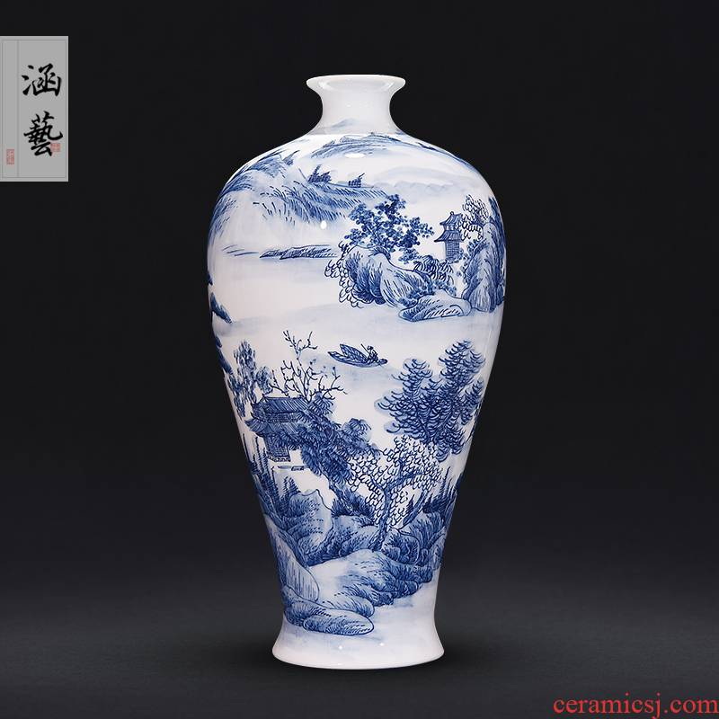 Jingdezhen ceramic hand - made porcelain shan spring scenery beauty bottles of sitting room place flower arrangement of new Chinese style decoration