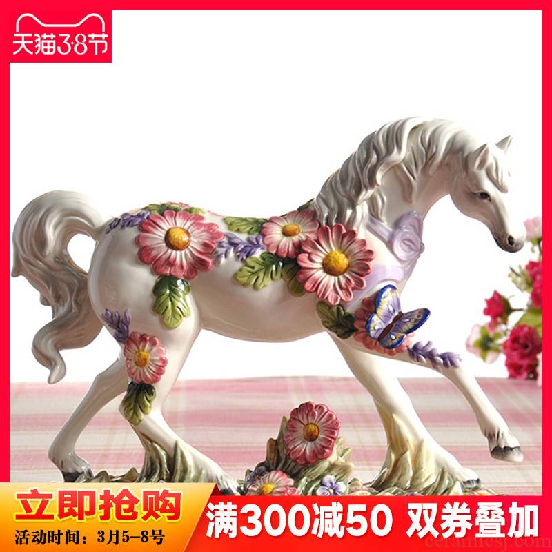 Purple ceramic horse furnishing articles creative European wine sitting room adornment I household indoor small ornament