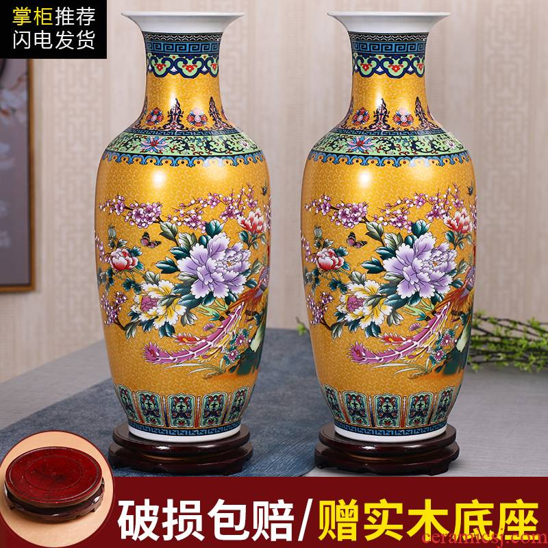 Jingdezhen ceramics flower vase sitting room place, household act the role ofing is tasted crafts porcelain flowers, contracted and I
