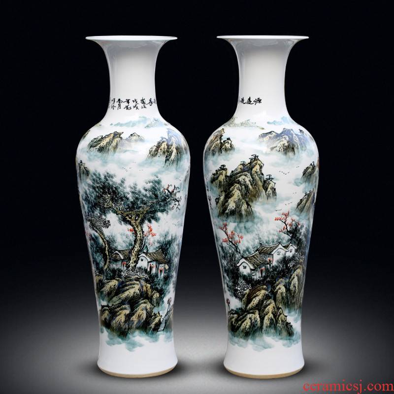 Jingdezhen ceramic landscape of large vases, new Chinese style living room decorations furnishing articles Chinese style hotel