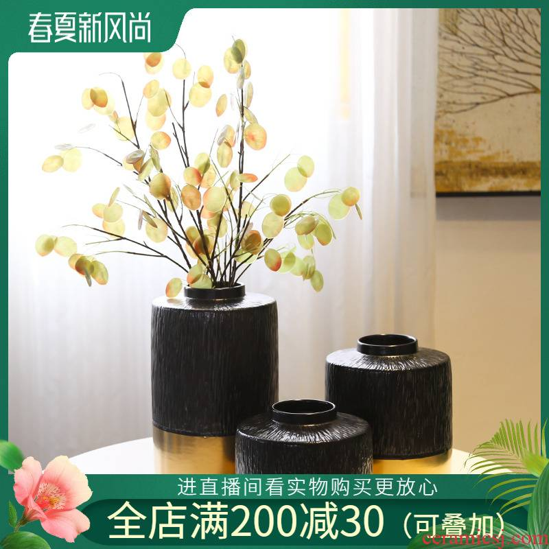 Sitting room creative vase light key-2 luxury new Chinese jingdezhen ceramic flower manual gold - plated flower implement simulation flower decoration