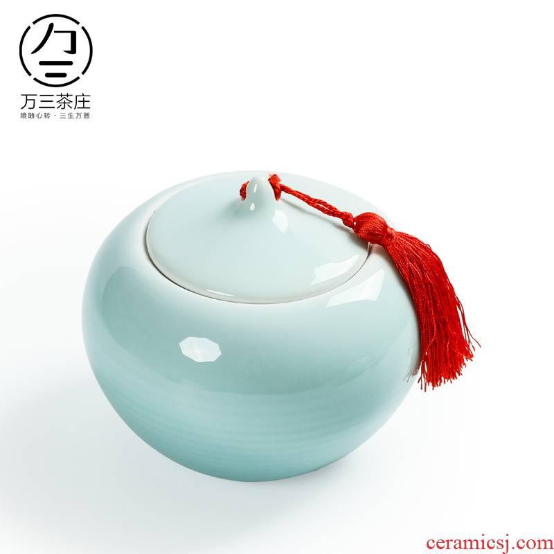 Three thousand tea caddy fixings ceramic large seal pot celadon wake receives pu 'er tea warehouse storage POTS hand