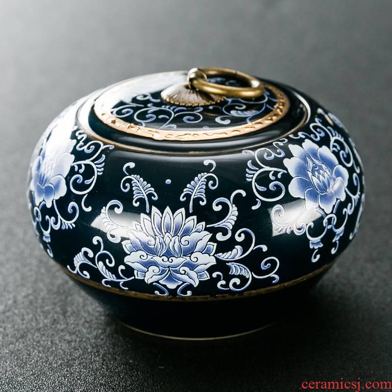 NiuRen ceramic tea pot hand - made paint storage jar airtight jar of blue and white porcelain tea sealing and receives the trumpet