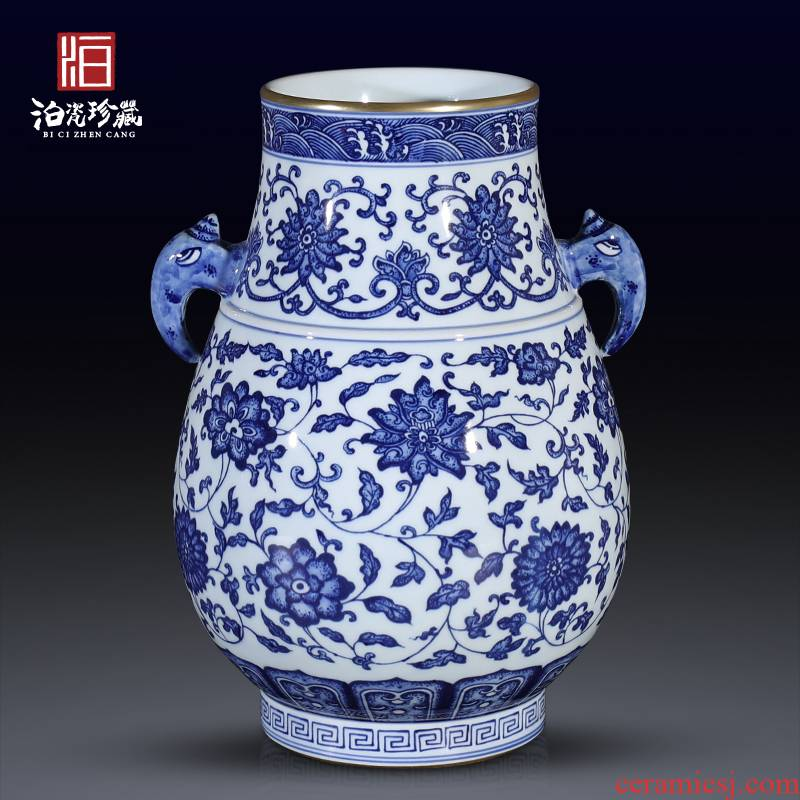 New Chinese style household vase antique blue and white porcelain in jingdezhen ceramics lily sitting room porch decoration furnishing articles