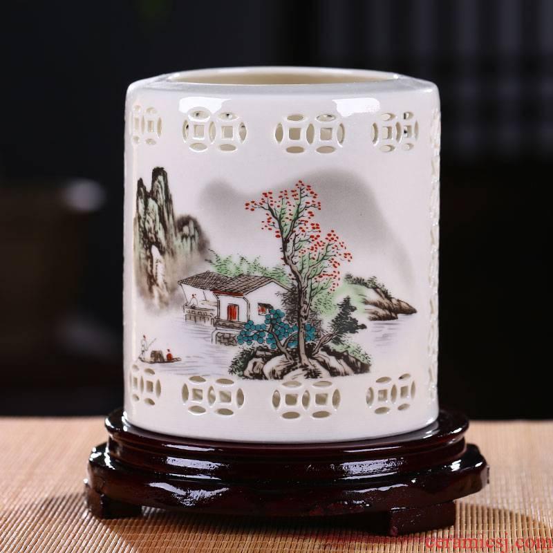 Jingdezhen porcelain brush pot manual desk furnishing articles study four treasures hair brush pot restoring ancient ways head 'day gift