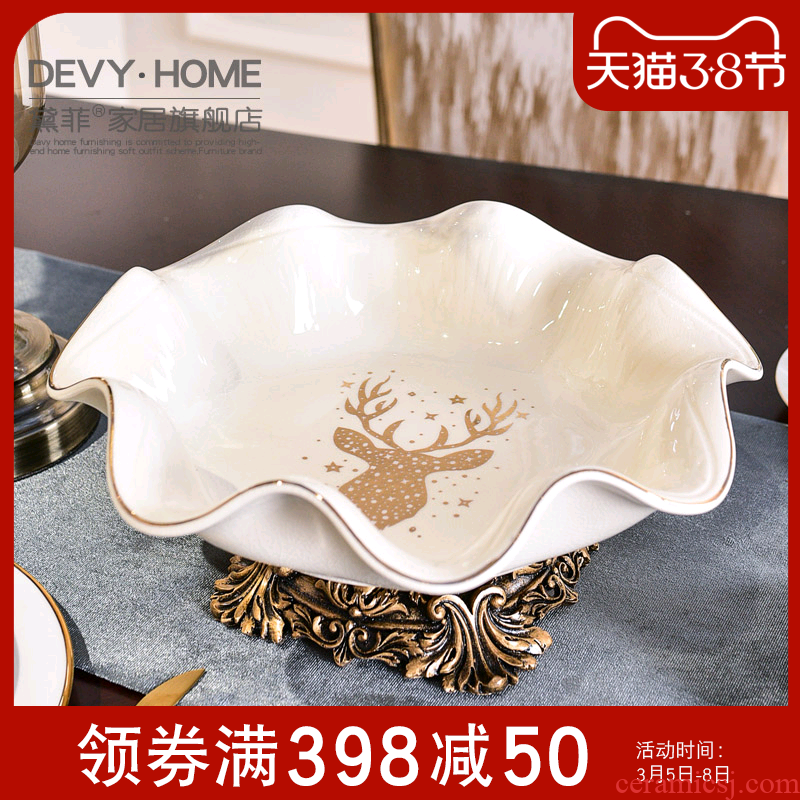 Fruit bowl boreal Europe style ins ceramic bowl home sitting room tea table originality decorative dried Fruit tray was furnishing articles