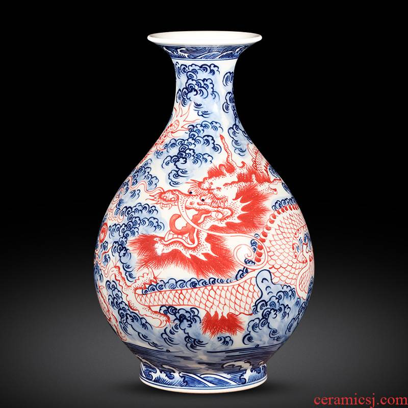 Jingdezhen ceramics antique hand - made of blue and white porcelain vases, flower arrangement furnishing articles the new Chinese rich ancient frame sitting room adornment