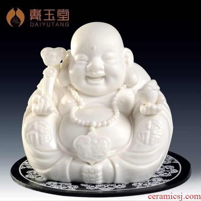 Yutang dai dehua white porcelain small figure of Buddha maitreya Buddha with auto car decorative furnishing articles peace pot - bellied laughing Buddha
