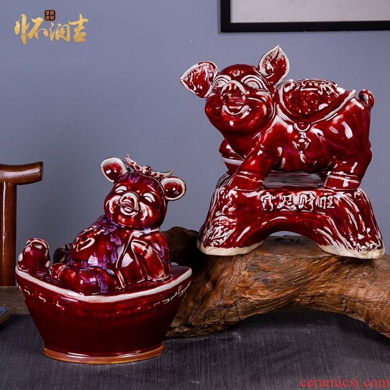 Jingdezhen ceramics new sitting room of Chinese style household act the role ofing is tasted furnishing articles hand - carved pig souvenirs creative gift