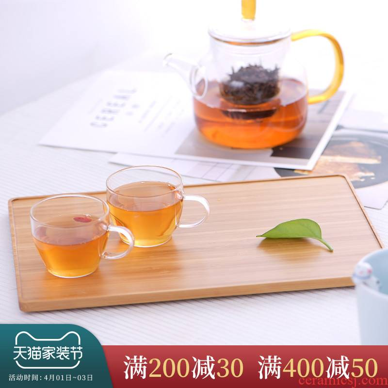 Ceramic story waterproof tea tray rectangle size monolayer saucer dish nanzhu kung fu tea accessories package mail