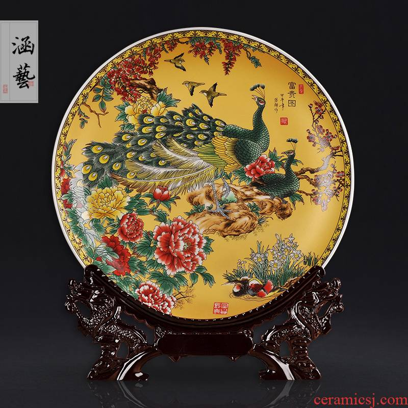 Jingdezhen ceramics decoration plate of creative living room TV cabinet wine furnishing articles household act the role ofing is tasted a wedding gift