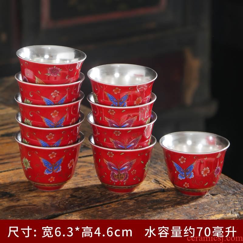 The Master of jingdezhen ceramic cups cup single CPU colored enamel porcelain tea set flower sample tea cup kung fu tea cups