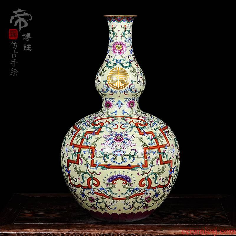 Jingdezhen ceramics high - grade antique hand - made qianlong pastel gourd vases, home decoration process sitting room place