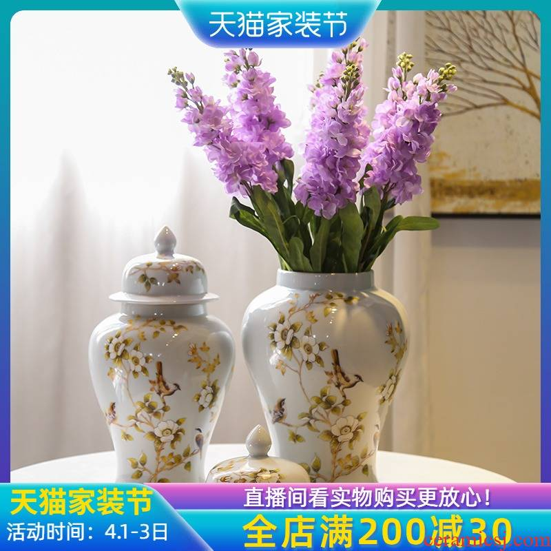 Jingdezhen creative general pot vase flower arrangement of new Chinese style gold sitting room porch decorative ceramic decoration in a large place