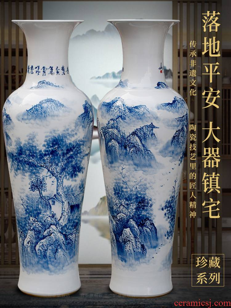 Jingdezhen porcelain has a long history in the hand - made landing big blue and white porcelain vase home sitting room porch place to study