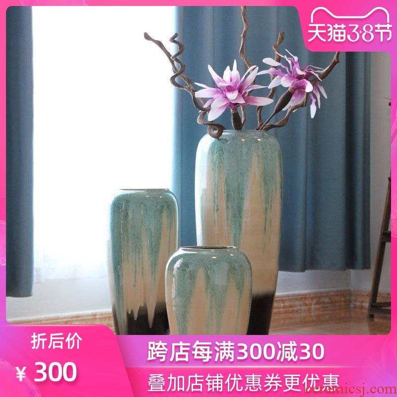Color glaze up ceramic floor vase vase modern European - style villa hotel sitting room place large vases, flower arrangement