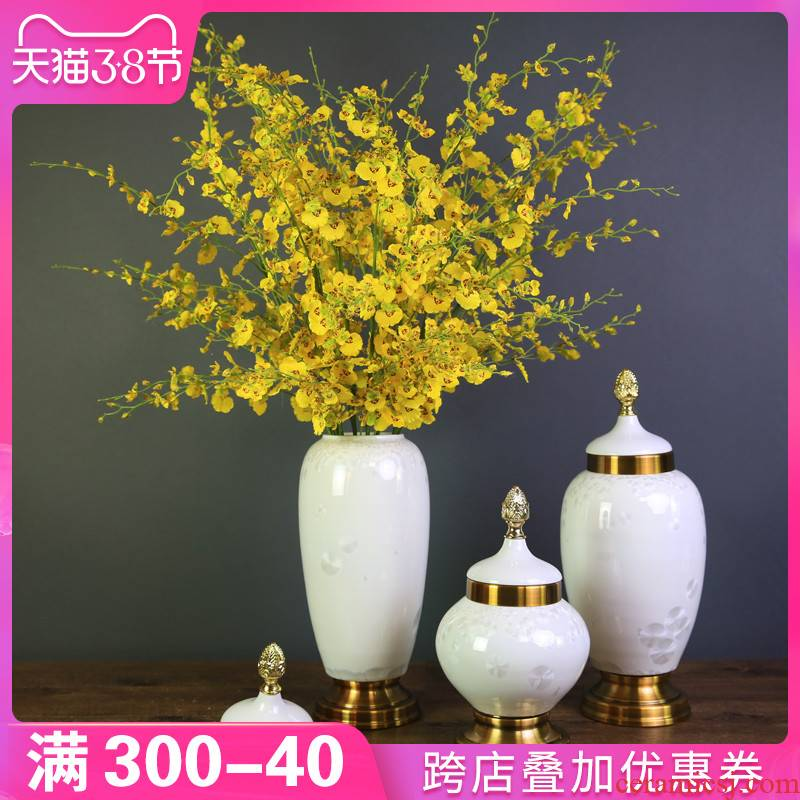 Ou porch vase furnishing articles ceramic flower arranging American household soft adornment between example sitting room TV cabinet decoration