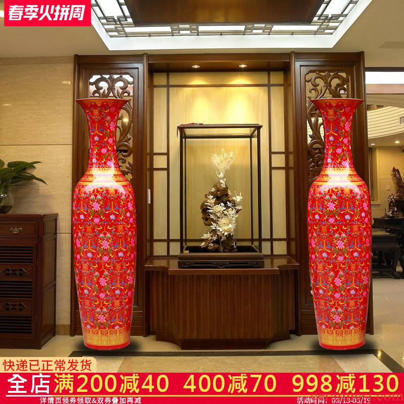 Jingdezhen ceramics in China red large vase European - style villa living room adornment is placed large opening