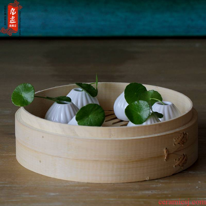 Jingdezhen ceramic hand kneading steamed stuffed bun flower implement creative desktop furnishing articles ceramic indoor meaty plant flowers, flower arranging