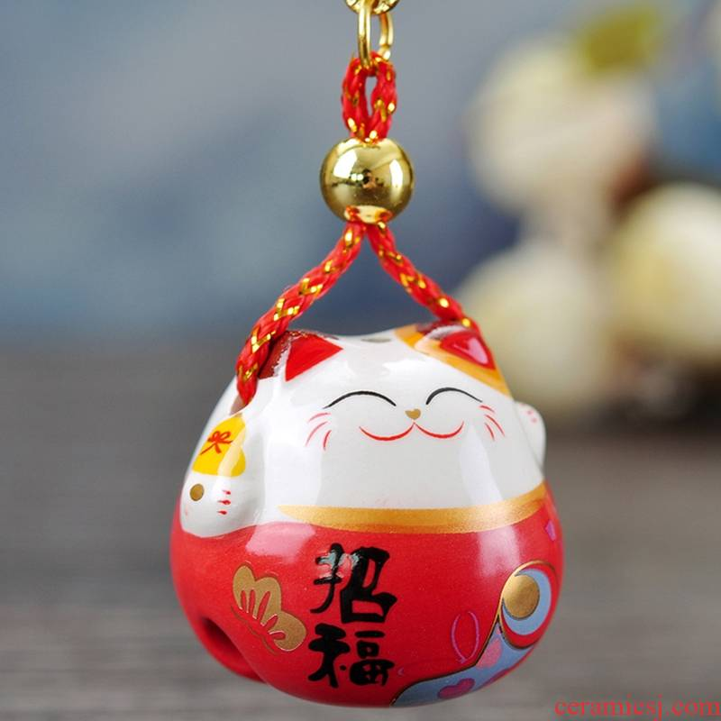 Stone workshop plutus cat pendant package bells hang hang ceramic jewelry creative New Year gift inside the car
