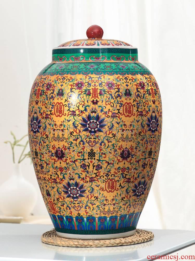 Barrel jingdezhen ceramic ricer box 20 jins 30 jins 50 kg pack household with cover moistureproof cylinder tank rice storage tank
