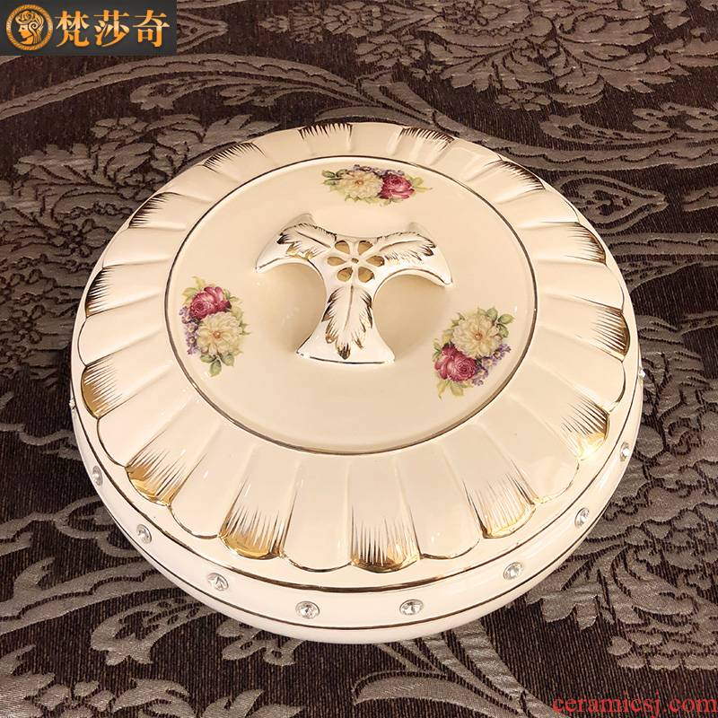 European ceramic dry fruit bowl sitting room home furnishing articles Chinese New Year Spring Festival tea table with frame with cover candy box snack plate