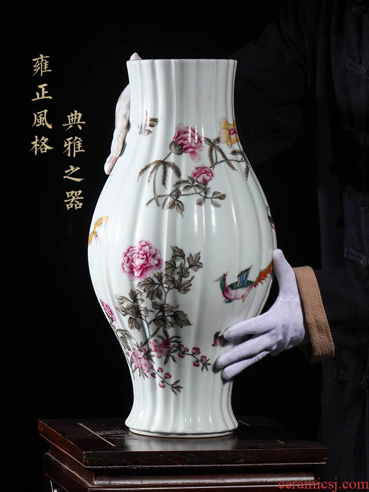 Jia lage YangShiQi the clear yong zheng famille rose flower - and - bird grain melon leng type and name olive hand - made porcelain bottle furnishing articles