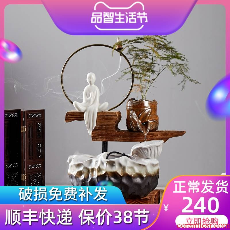 Creative jingdezhen ceramic water furnishing articles lucky auspicious feng shui wheel tank sitting room household humidifier automatic cycle