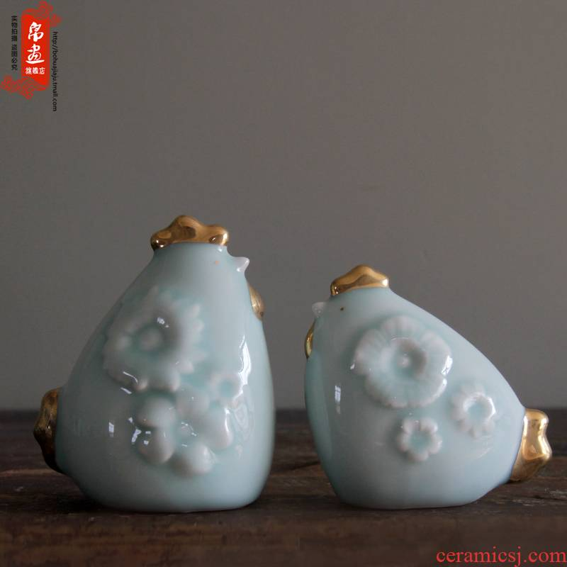 Jingdezhen ceramics craft porcelain propitious to chickens zoo ceramic household porcelain desktop see colour furnishing articles