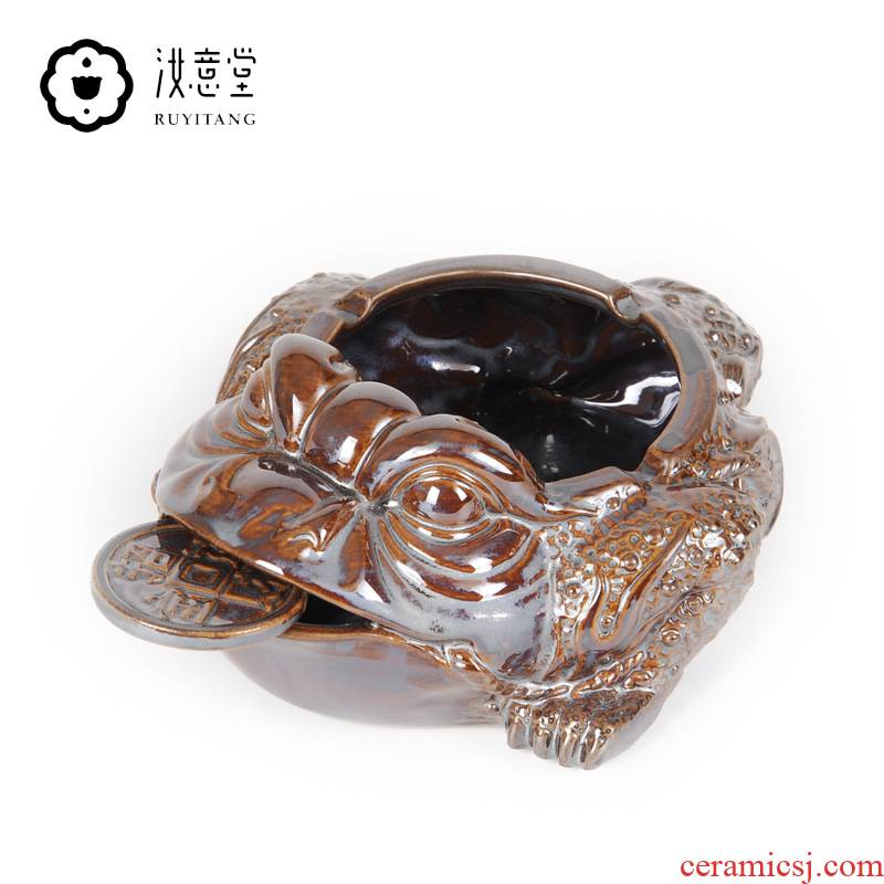 Creative ceramic ashtray spittor toad sitting room tea table office desktop ornaments furnishing articles domestic large capacity