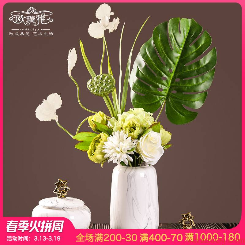 Creative European vase sitting room porch decoration contracted the new Chinese style TV ark, simulation flower flower ceramic furnishing articles