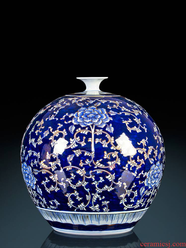Jingdezhen chinaware paint hand - made pomegranate bottles of Chinese style living room office furnishing articles large blue and white porcelain vase