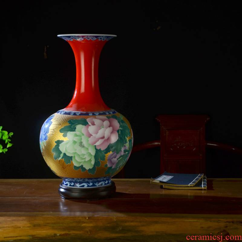Under the liling glaze porcelain good remit colorful ceramics hand - made ceramic vase household adornment furnishing articles with a silver spoon in its ehrs expressions using the and living room