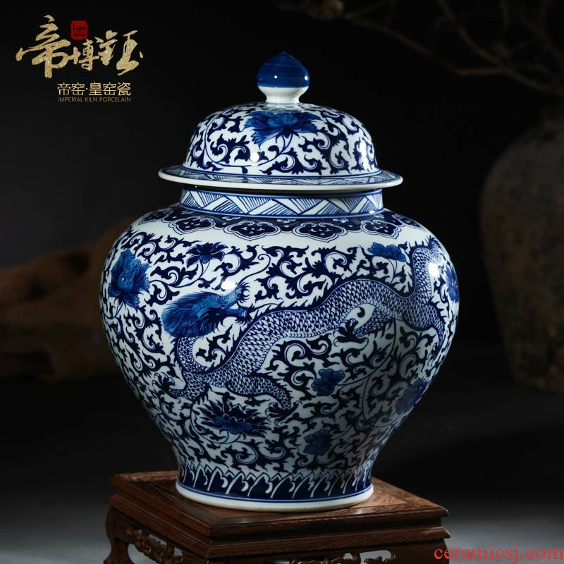 Antique hand - made furnishing articles of blue and white porcelain of jingdezhen ceramics general sitting room porch decoration decoration cover tank