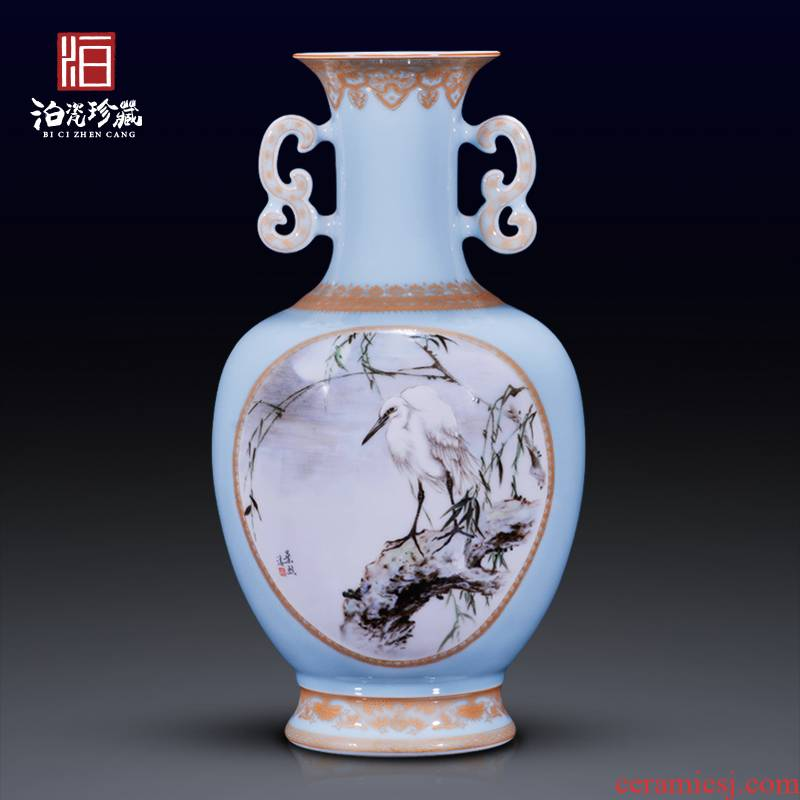 High - quality goods of jingdezhen ceramics hand - made heavy pastel egrets painting of flowers and new Chinese style household decorative bottle vase furnishing articles