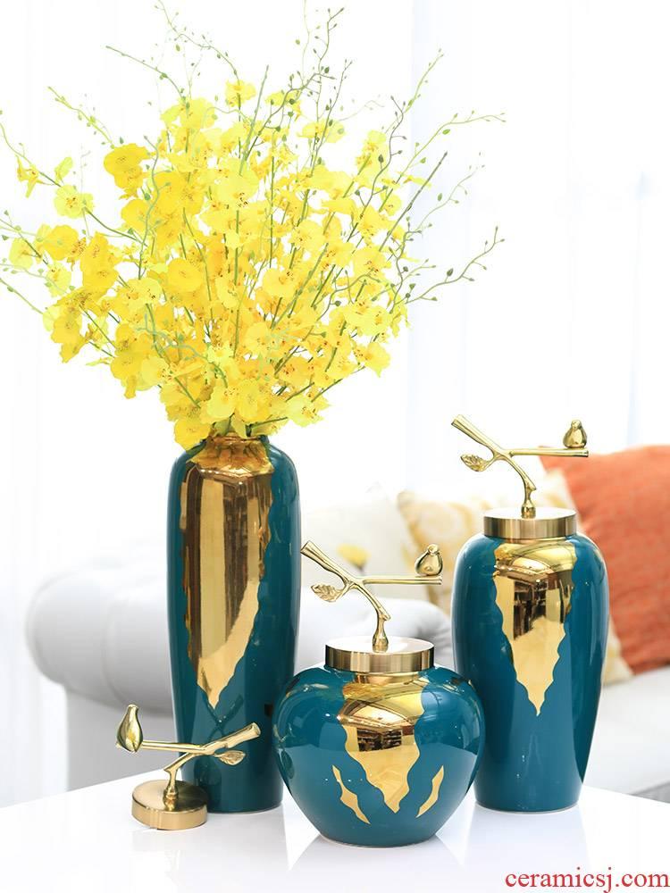 The Big new Chinese style ceramic vase furnishing articles creative flower arranging light sitting room key-2 luxury modern jingdezhen retro household ornaments