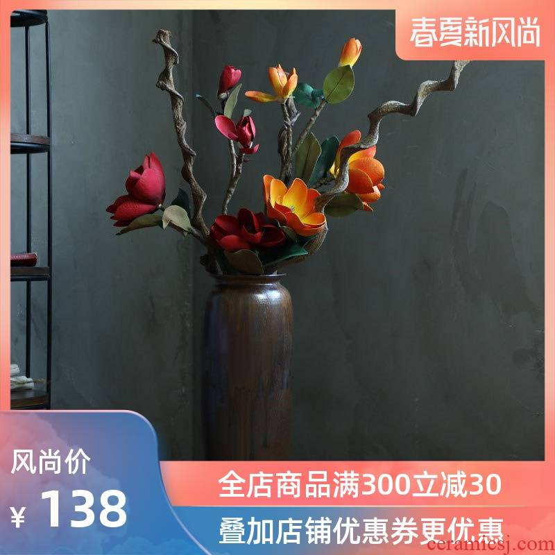 Ceramic vase landing restoring ancient ways continental contracted sitting room porch hotel dry flower arranging flowers large soft adornment is placed