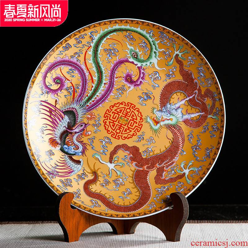 Jingdezhen ceramics in extremely good fortune 10 inch decorative hanging dish sit home study bedroom handicraft furnishing articles