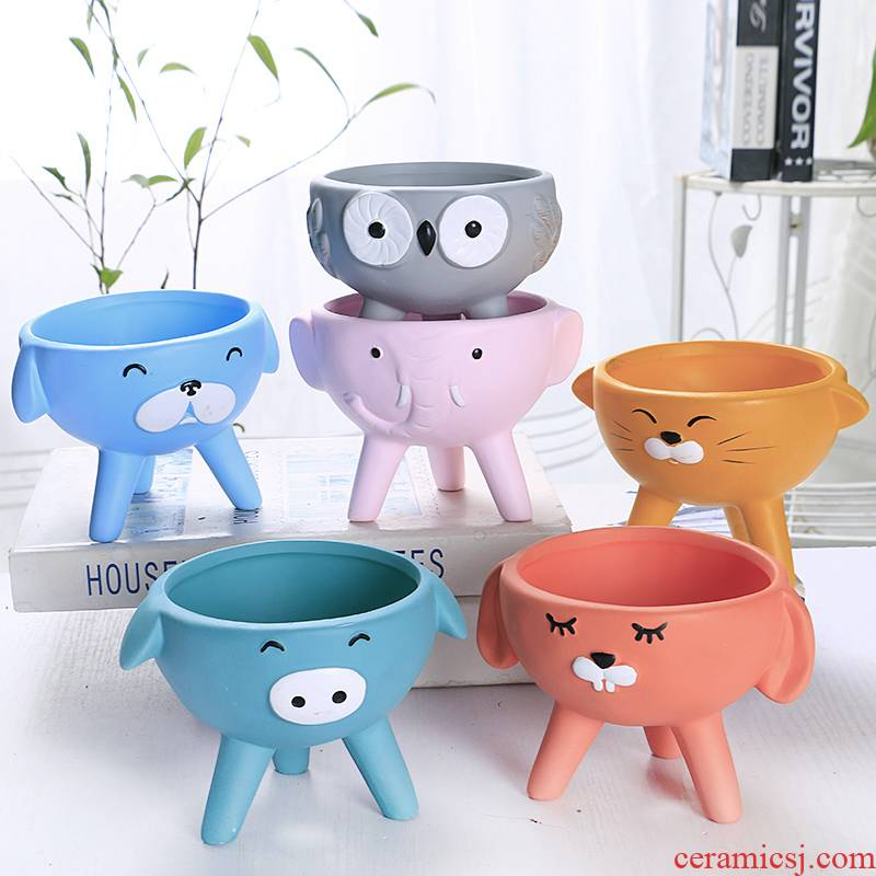 Cartoon meat flowerpot ceramic large special offer a clearance express animal more creative move small special flower implement package mail