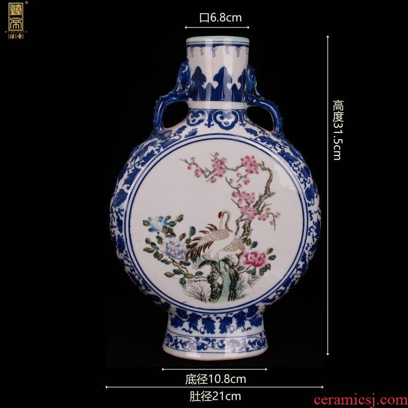 Jingdezhen imitation yongzheng bucket color of flowers and birds on flat bottles of Chinese style household table counter imitation antique decorative vase furnishing articles