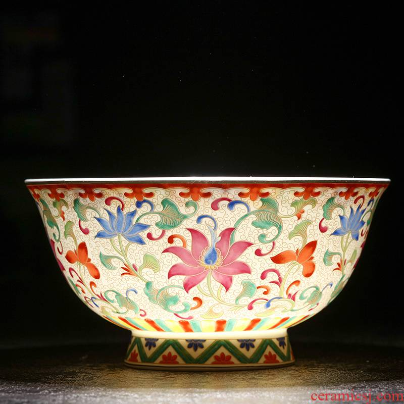 Jingdezhen porcelain ceramic bowl 4.5 inch household large bowl of rice bowls archaize rainbow such as bowl soup bowl bowl against the tall foot is very hot