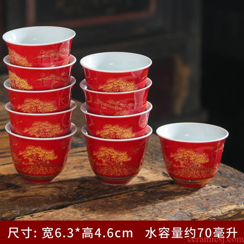 Jingdezhen ceramic color ink landscape of small cup single cup sample tea cup kung fu master cup personal tea cups