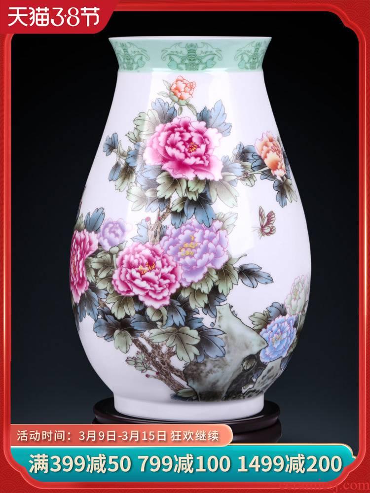 Jingdezhen ceramics powder enamel peony flowers prosperous vases, flower arrangement sitting room adornment of new Chinese style household furnishing articles