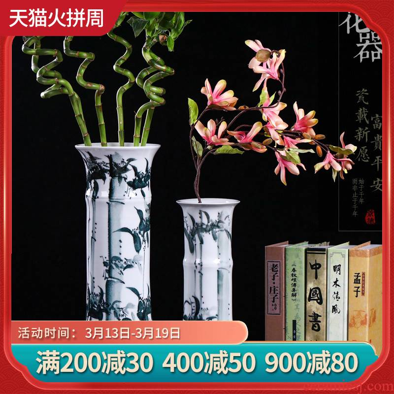 Jingdezhen ceramics vase sitting room adornment of Chinese style household furnishing articles hydroponic lucky bamboo dried flower lily flower arrangement