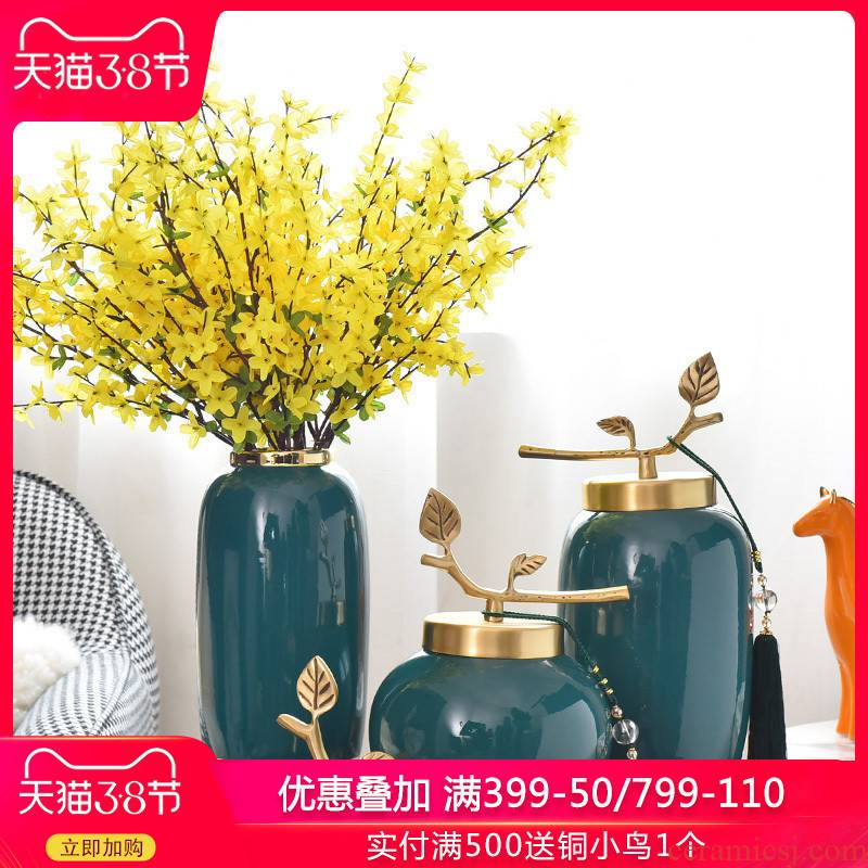 Creative light key-2 luxury new Chinese TV ark, ceramic vase in the sitting room porch home furnishing articles with copper pieces