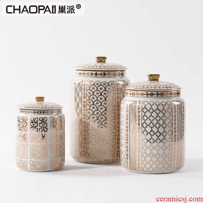 New Chinese style plating light and decoration ceramics storage tank furnishing articles classical style living room TV cabinet porch decoration arts and crafts