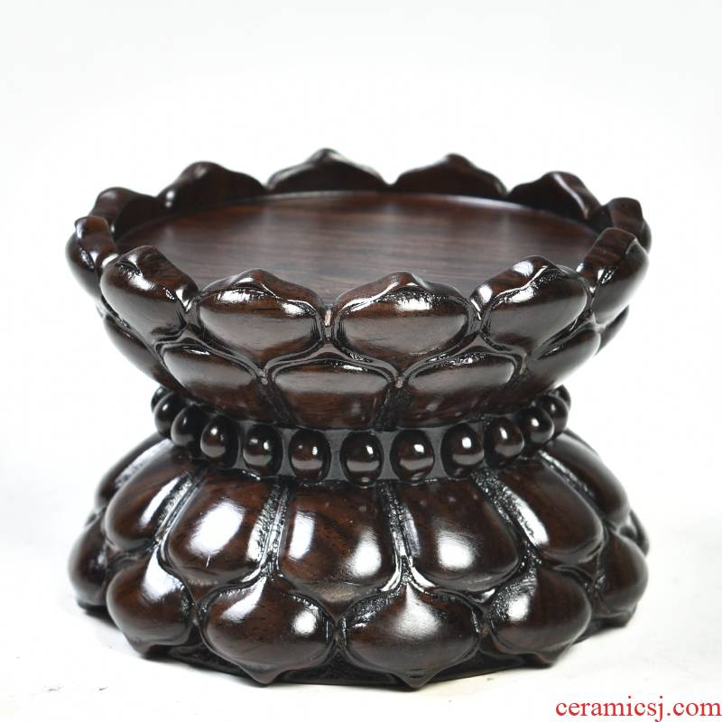 Solid wood ebony wood carving handicraft lotus Taiwan consecrate Buddha base round wooden bodhisattva guanyin lotus base
