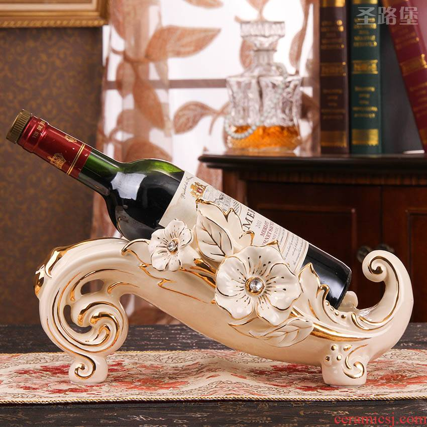 Red wine rack furnishing articles European - style move tantalus ceramic wine ark, adornment household act the role ofing is tasted creative wedding gift