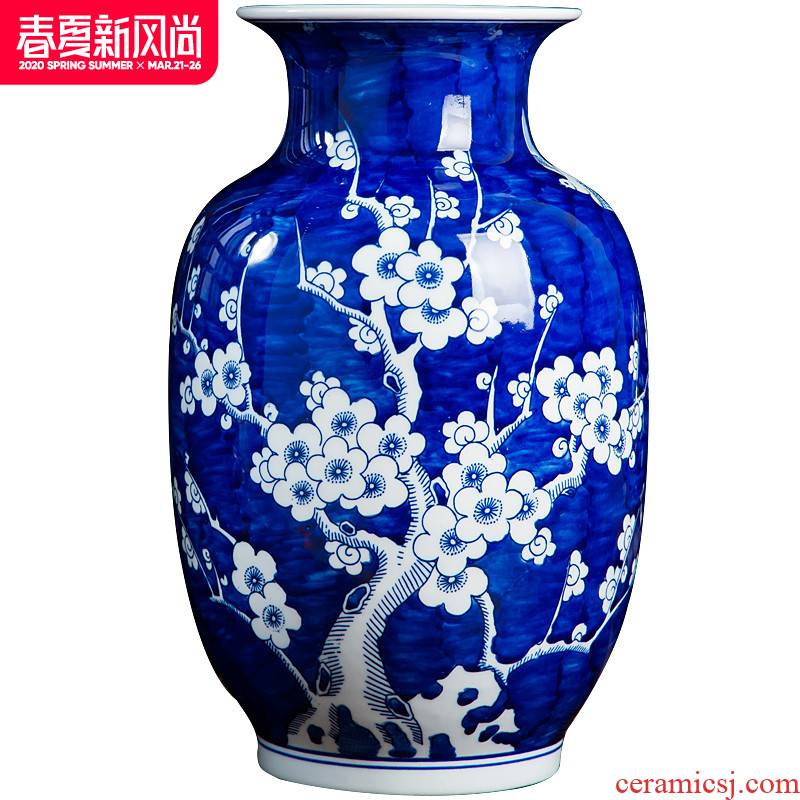 Jingdezhen ceramics by hand antique blue and white porcelain vases, flower arranging new Chinese style living room home furnishing articles